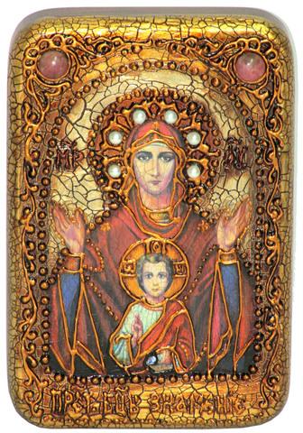 Инкрустированная икона Образ Божией Матери Знамение 15х10см на натуральном дереве в подарочной коробке