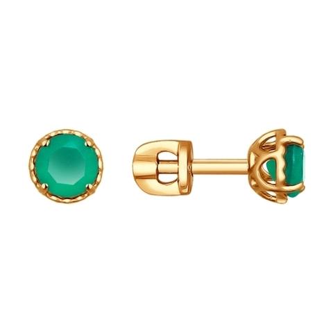 Серьги-пусеты из золота с зелёными агатами арт.724198