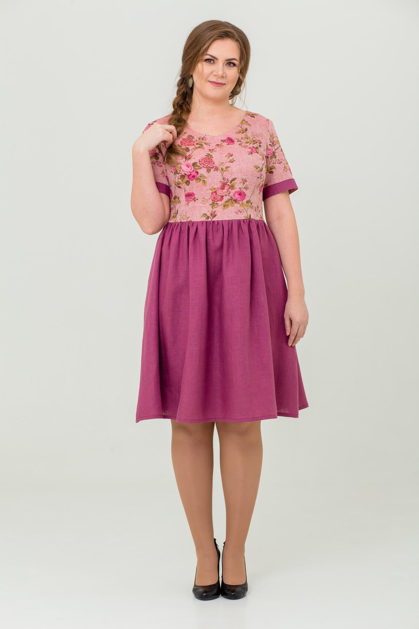 платье Розовый бутон льняное