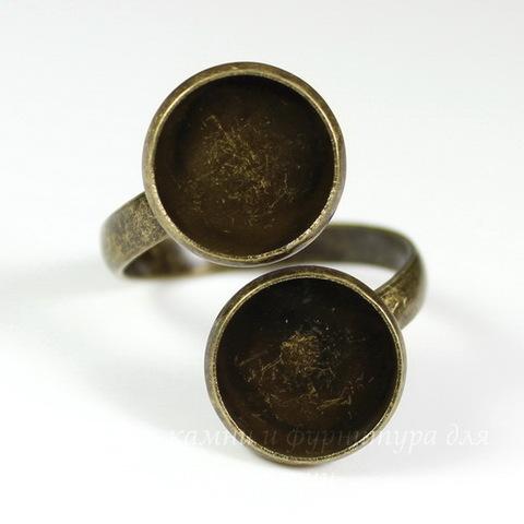 Основа для кольца с двойным сеттингом для кабошона 12 мм (цвет - античная бронза)