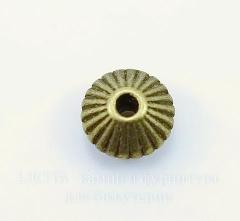 """Бусина металлическая - рондель """"Гофрированная"""" 9х5 мм (цвет - античная бронза), 10 штук"""