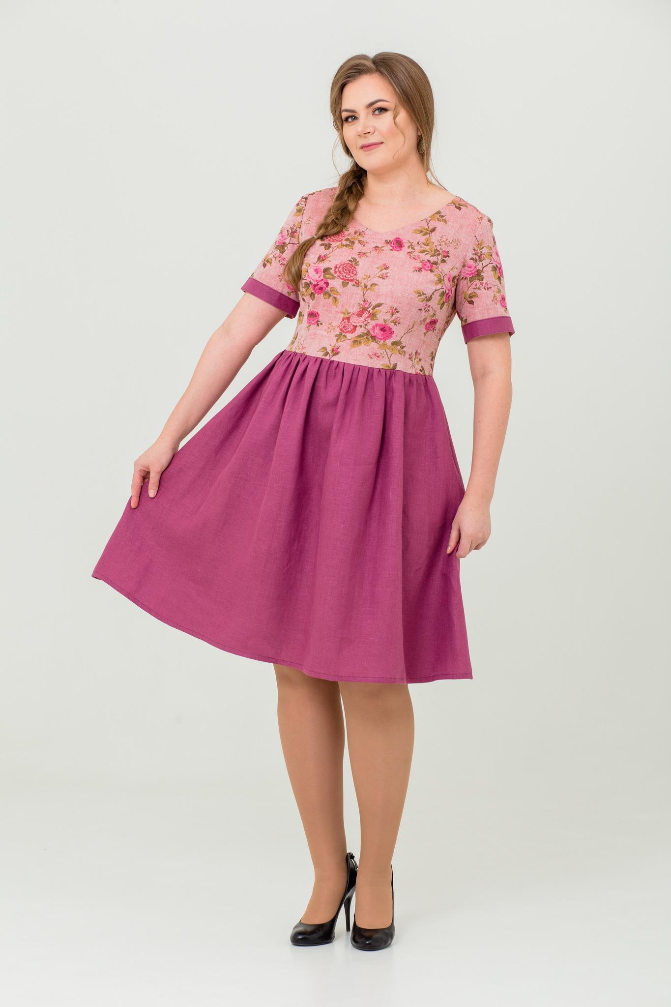 льняное платье Розовый бутон купить