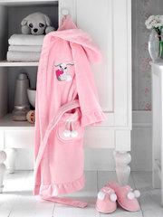 Халат детский махровый для девочки с тапочками  BUNNY БАННИ розовый/ Soft Cotton (Турция)