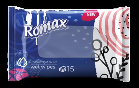 Фабрика Ромакс Romax Влажные салфетки гигиенические освежающие Антибактериальные 15 шт.