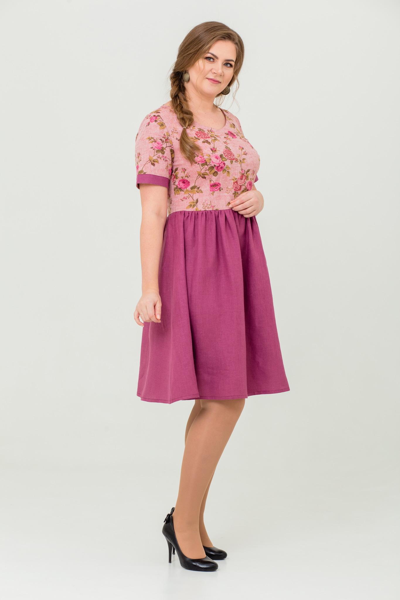 льняное платье Розовый бутон в русском стиле