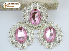 Камни в ажурной серебряной оправе светло-розовые (УЦЕНКА)