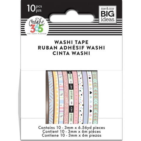 Набор скотчей Happy Planner Mini Washi Tape 3 мм x 6 м х 10 шт