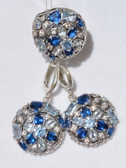 Флоксы (кольцо + серьги из серебра)