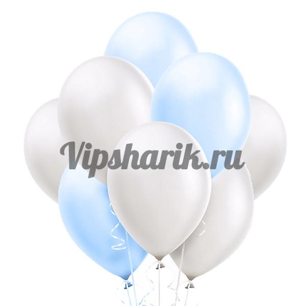 Облако шаров «Бело-голубые металлик»