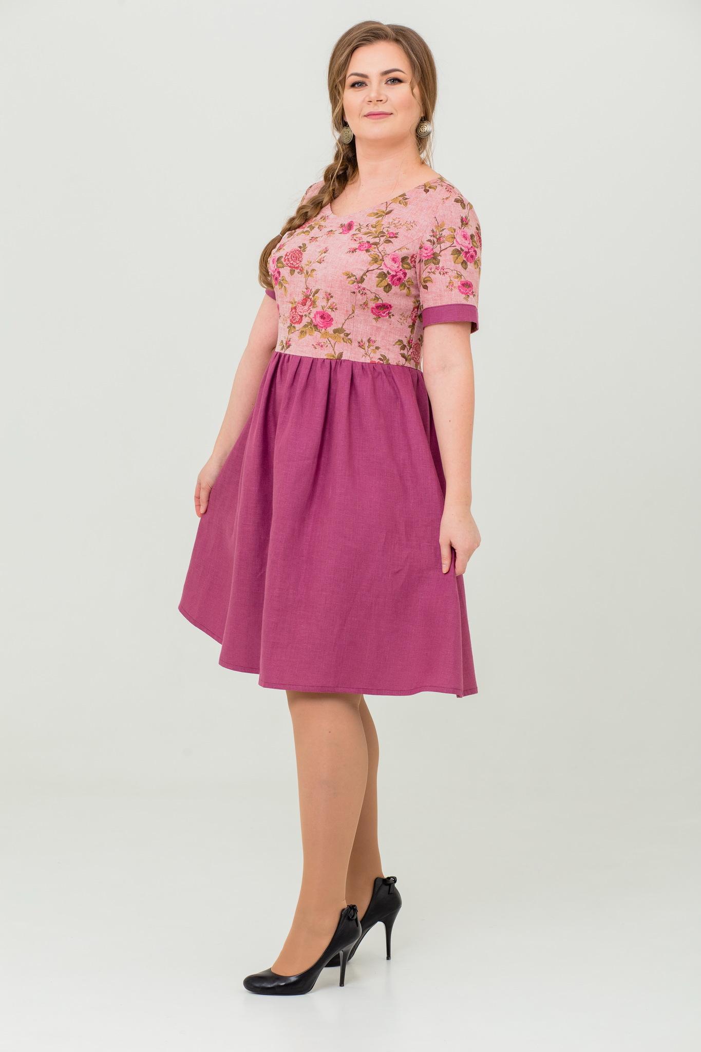 льняное платье Розовый бутон славянское