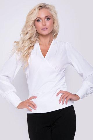 Шикарная блузка полуприлегающего силуэта с запахом и баской. Застежка на потайную молнию в боковом шве. Рукав пышный на высоком манжете. Длина: 44-56см, 46-57см, 48-59см, 50-60см.