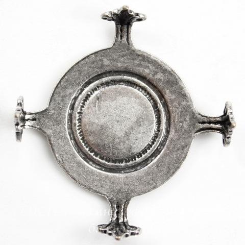 """Сеттинг - основа """"Черепашка"""" для камеи или кабошона 16 мм (оксид серебра) ()"""