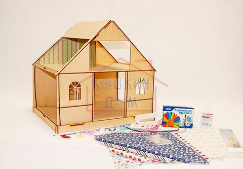 """Кукольный домик из фанеры """"Девичник"""" для раскрашивания ТМ""""Полноцвет"""" с набором для изготовления штор и обоями"""