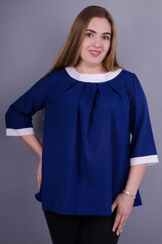 Рената. Стильная блуза больших размеров. Синий.
