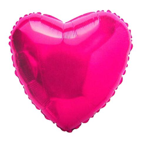 Шар-сердце фуксия, 45 см
