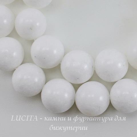 Бусина Жадеит (тониров), шарик, цвет - белый, 12 мм, нить