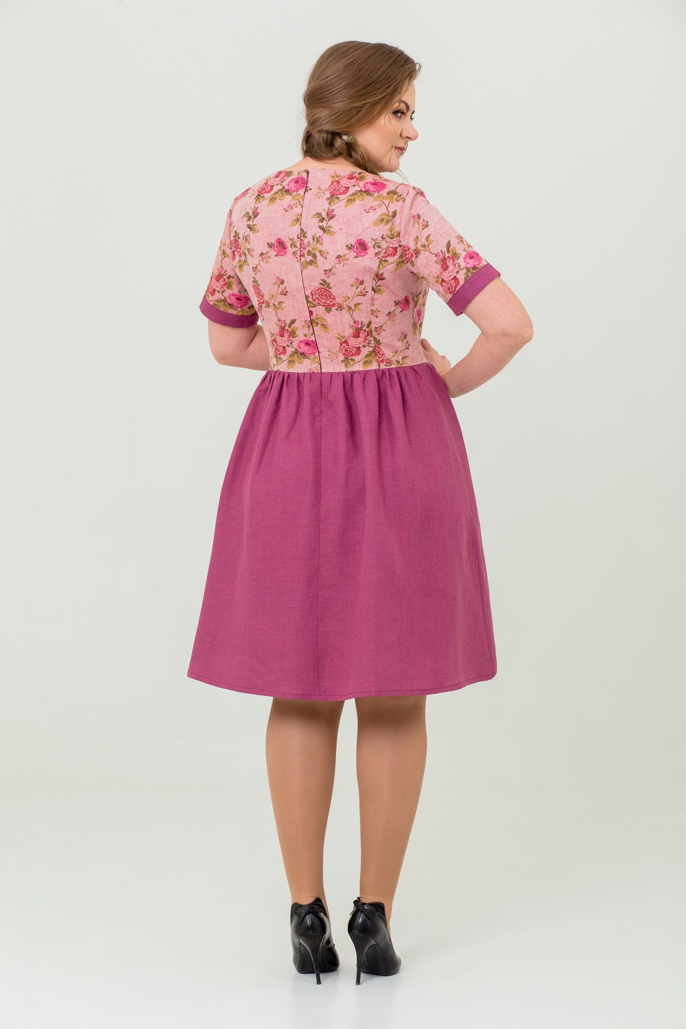 льняное платье Розовый бутон с цветочным узором