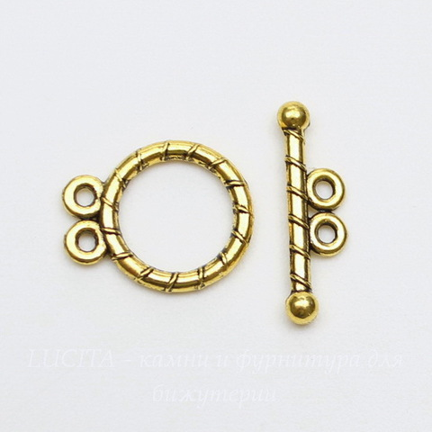 Замок - тоггл из 2х частей на 2 нити (цвет - античное золото) 15х12 мм, 18 мм