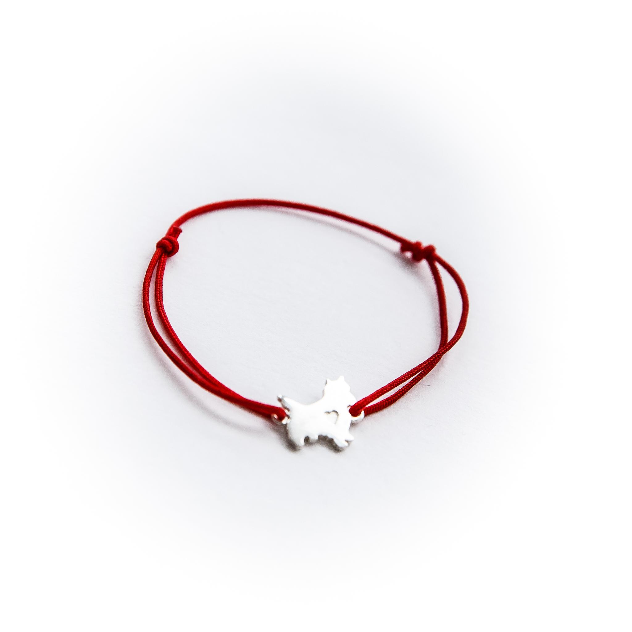 Сребряный браслет нить Терьер с сердцем