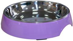 Миска на меламиновой подставке для кошек широкая 250 мл сиреневая, SuperDesign