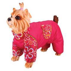 Комбинезон для собак, DEZZIE, чихуахуа - красный с цветами, девочка, болонья
