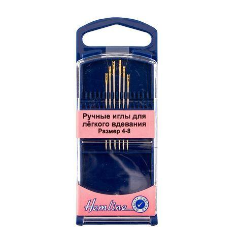 Иглы ручные для легкого вдевания в пластиковом контейнере № 4-8, 6шт. (арт. 216G.48/G002)