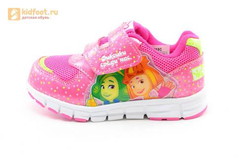 Светящиеся кроссовки для девочек Фиксики на липучках, цвет фуксия, мигает картинка сбоку. Изображение 3 из 15.