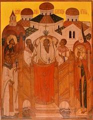 Воздвижение Креста Господня. Копия иконы XV века на доске.