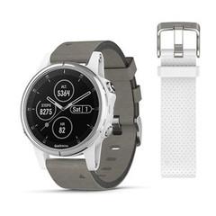Женские мультиспортивные часы Garmin Fenix 5S Plus Sapphire - белые с замшевым ремешком 010-01987-05