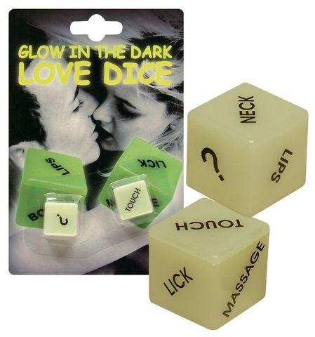 Кубики для любовных игр Glow-in-the-dark с надписями на английском