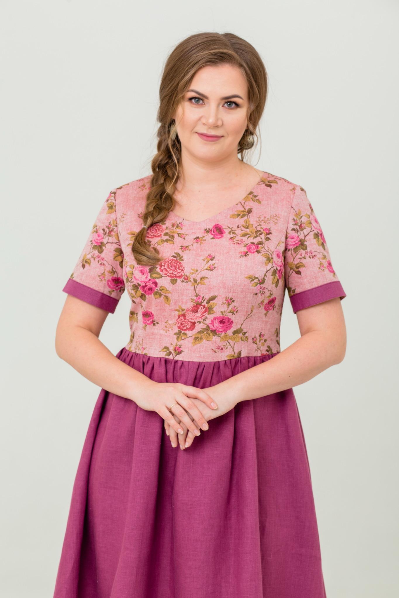 льняное платье Розовый бутон купить онлайн