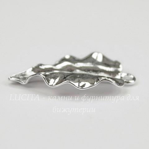 """Подвеска """"Волнистый листик"""" 26х15 мм (цвет - серебро)"""