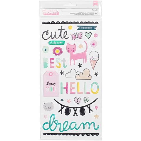 Объемные пластиковые стикеры   Cute Girl by Crate Paper