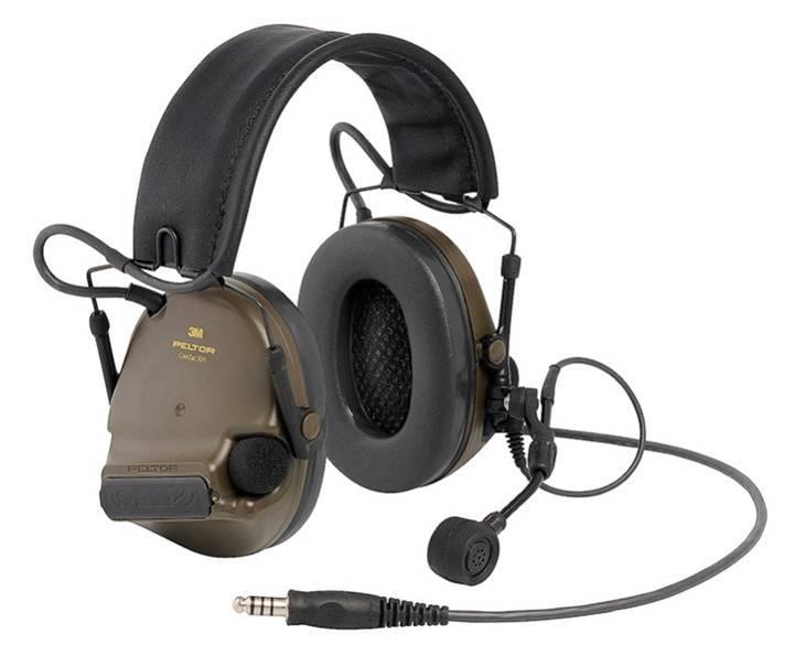 Активные наушники ComTac XPI, складное оголовье, стандартный микрофон на жёсткой штанге, зелёные чашки