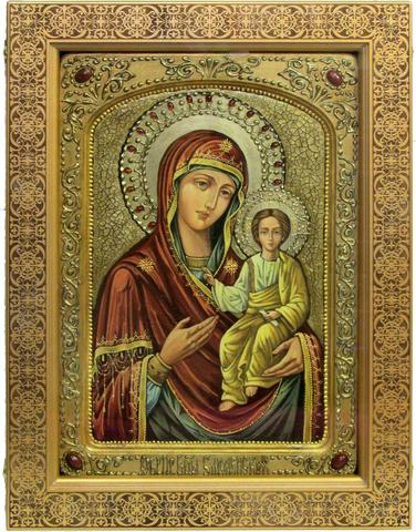 Живописная икона Божией Матери Одигитрия Смоленская 42х29см на кипарисе в березовом киоте