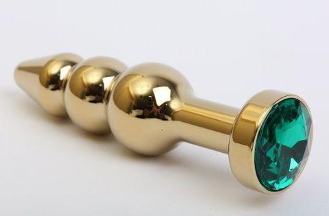 Золотистая анальная ёлочка с зеленым кристаллом - 11,2 см.