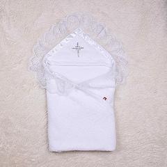 Махровая крестильная крыжма Богатство (белая)