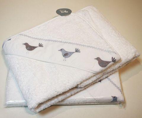Полотенце детское 100х100 Bovi Птички с капюшоном белое