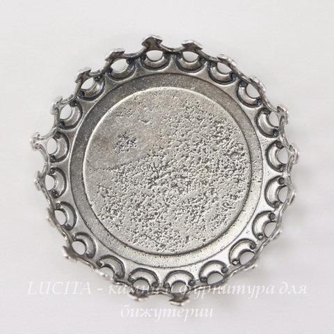Сеттинг - основа с зубчатым краем для камеи или кабошона 18 мм (оксид серебра)