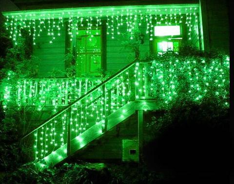 LED гирлянда зеленая бахрома сталактиты 5 м на 0,7 м на прозрачном проводе