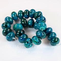 Бусина Хризоколла (тониров), рондель, цвет - зелено-голубой, 12х8 мм, нить