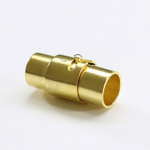 Замок из 2х частей магнитный для шнура 6 мм, 17х8 мм (цвет - золото)