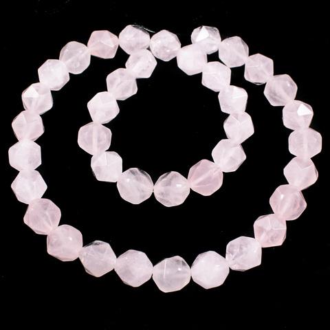 Кварц розовый бусины крупная грань 10 мм нить 19 бусин