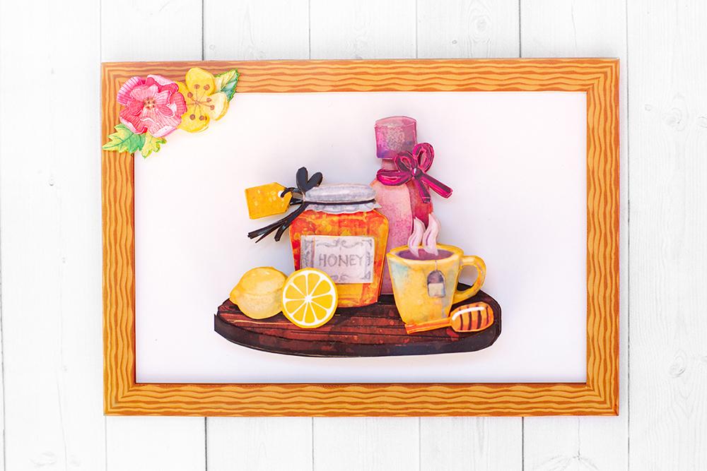 Чай с медом - готовая работа, фронтальный вид.