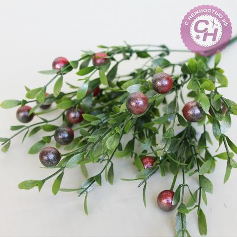 Букет ПЕРЛАМУТРОВОГО брусничника с ягодами, 7 веток, 35 см.