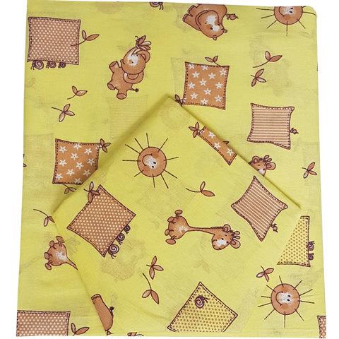 Папитто. Комплект постельного белья для новорожденных из бязи Жирафики, желтый