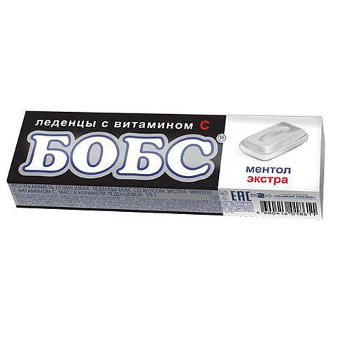 БОБС экстра ментол, леденцы с витамином С 12*24бл,35г.