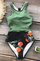 Купальник слитный оливковый зеленый черный
