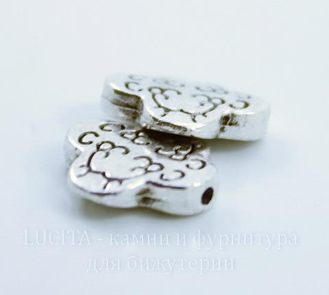 """Бусина металлическая """"Завитки"""" 11х11 мм (цвет - античное серебро)"""
