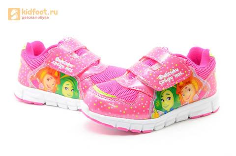 Светящиеся кроссовки для девочек Фиксики на липучках, цвет фуксия, мигает картинка сбоку. Изображение 10 из 15.
